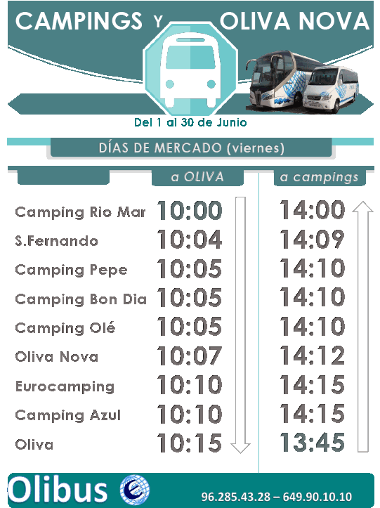 horario junio campings oliva