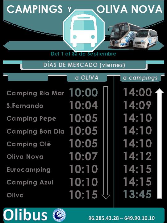 horario septiembre campings oliva