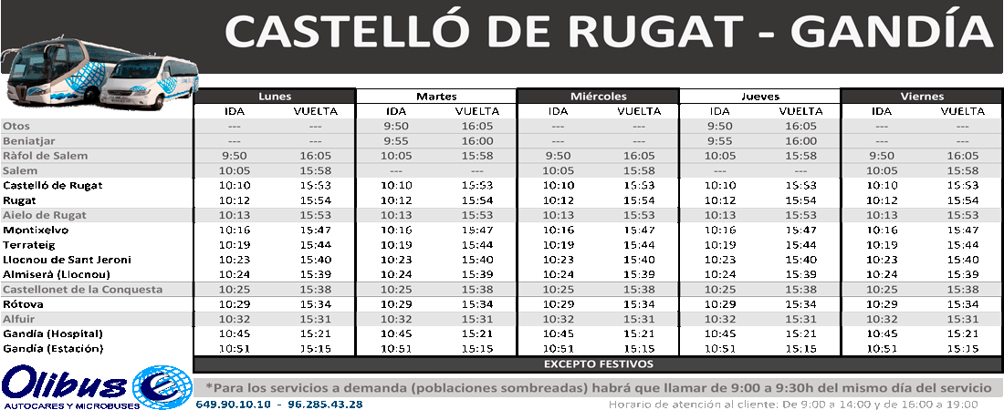 horario catello rugat gandia